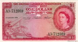 1 Dollar CARAÏBES  1958 P.07c pr.SUP