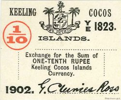 1/10 Rupee ÎLES KEELING COCOS  1902 PS.123 pr.NEUF