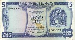 5 Liri MALTE  1973 P.32c TTB+