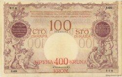 400 Kronen sur 100 DInara YOUGOSLAVIE  1919 P.019 TB