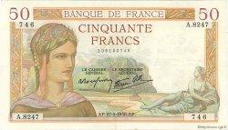 50 Francs CÉRÈS modifié FRANCE  1938 F.18.13 TTB+