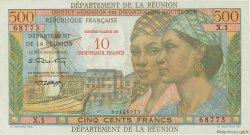 10 NF sur 500 Francs Pointe à Pitre ÎLE DE LA RÉUNION  1964 P.54b pr.SUP
