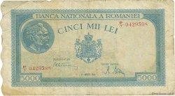 5000 Lei ROUMANIE  1945 P.056a TB