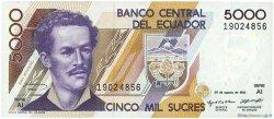5000 Sucres ÉQUATEUR  1993 P.128a SPL