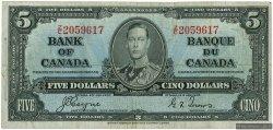 5 Dollars CANADA  1937 P.060c TB