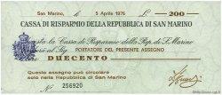200 Lire SAINT-MARIN  1976 PS.102v NEUF