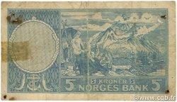 5 Kroner NORVÈGE  1956 P.30a B+