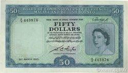 50 Dollars MALAISIE et BORNEO  1953 P.04a TTB à SUP