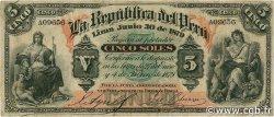 5 Soles PÉROU  1879 P.003 TB+