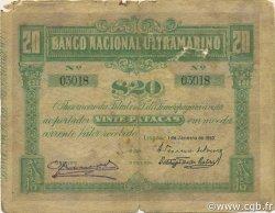 20 Patacas TIMOR  1910 P.04 B+