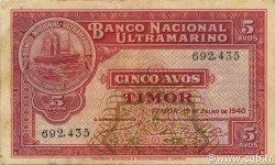 5 Avos TIMOR  1940 P.12 TTB+