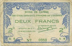 2 Francs OCÉANIE  1943 P.12c TTB