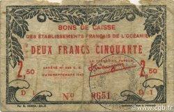 2,5 Francs OCÉANIE  1943 P.13b TB