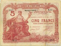 5 Francs TAHITI  1914 P.01a TB+