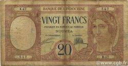 20 Francs NOUVELLE CALÉDONIE  1936 P.37a B