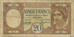 20 Francs NOUVELLE CALÉDONIE  1936 P.37b B+