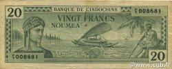 20 Francs NOUVELLE CALÉDONIE  1944 P.49 TTB