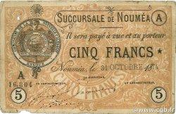 5 Francs NOUVELLE CALÉDONIE  1874 P.02 B+