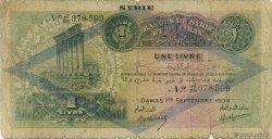1 Livre SYRIE  1939 P.040f AB