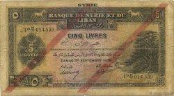5 Livres SYRIE  1939 P.041c B+