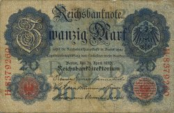 20 Mark ALLEMAGNE  1910 P.040b TB