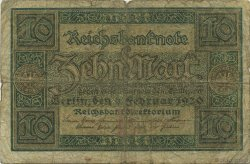 10 Mark ALLEMAGNE  1920 P.067a B