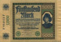 5000 Mark ALLEMAGNE  1922 P.077 TTB