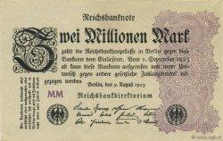 2 Millions Mark ALLEMAGNE  1923 P.104d SUP+
