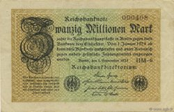 20 Millions Mark ALLEMAGNE  1923 P.108d TTB+