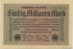 50 Millions Mark ALLEMAGNE  1923 P.109e SUP+