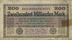 200 Milliards Mark ALLEMAGNE  1923 P.121b B+