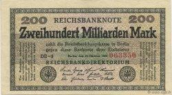 200 Milliards Mark ALLEMAGNE  1923 P.121b pr.SPL