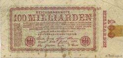 100 Milliards Mark ALLEMAGNE  1923 P.133 TB