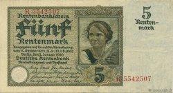 5 Rentenmark ALLEMAGNE  1926 P.169 TTB