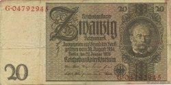 20 Reichsmark ALLEMAGNE  1929 P.181b TB