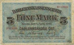 5 Mark ALLEMAGNE Kowno 1918 P.R130 pr.TTB