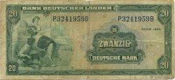 20 Deutsche Mark ALLEMAGNE FÉDÉRALE  1949 P.17a TB