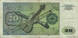 20 Deutsche Mark ALLEMAGNE  1960 P.020a TB+