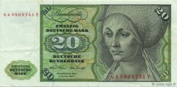20 Deutsche Mark ALLEMAGNE FÉDÉRALE  1970 P.32a TTB+