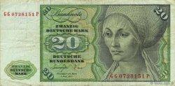 20 Deutsche Mark ALLEMAGNE FÉDÉRALE  1977 P.32b TB+