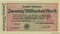 20 Milliards Mark ALLEMAGNE  1923 PS.1022 SPL