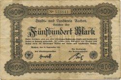 500 Mark ALLEMAGNE Aachen - Aix-La-Chapelle 1922  TTB