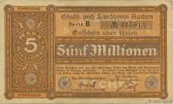 5 Millions Mark GERMANY Aachen - Aix-La-Chapelle 1923  VF