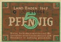 5 Pfennig ALLEMAGNE Baden 1947 PS.1001 SUP