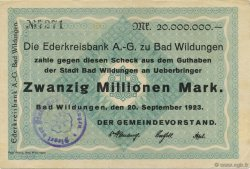 20 Millions Mark ALLEMAGNE Bad Wildungen 1923  TTB+