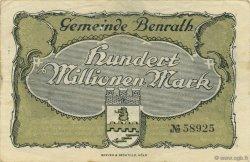 100 Millions Mark ALLEMAGNE Benrath 1923  TTB