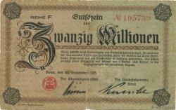 20 Millions Mark ALLEMAGNE  1923  B