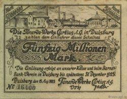 50 Millions Mark ALLEMAGNE Duisburg 1923  TTB