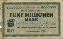 5 Millions Mark ALLEMAGNE Düren 1923  B