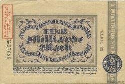 1 Milliard Mark ALLEMAGNE Düsseldorf 1923  TTB